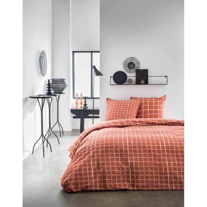 TODAY Parure de couette 220x240 + 2 taies d'oreiller 65x65 cm - 100% Coton - Orange Graphique SUNSHINE 4.37