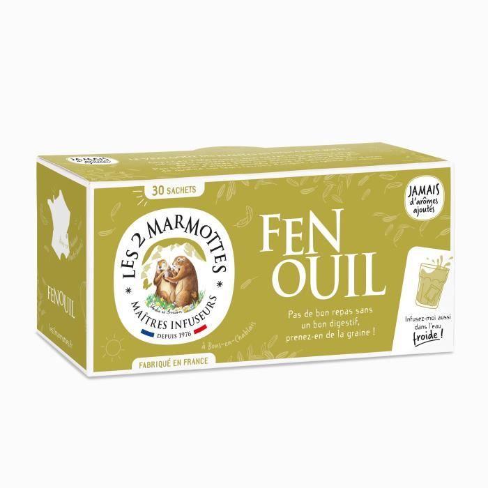 Les 2 Marmottes - Infusion -Fenouil- 30 sachets - Fenouil - Made In France - Sans arômes ajoutés