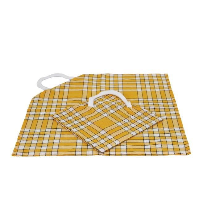 LINANDELLE - Lot de 2 bavoirs enfant coton carreaux vichy Normand CLEAN KID - Jaune
