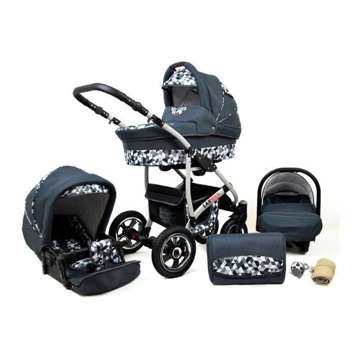 Lux4kids Poussette combinée Landau roues pivotantes Poussette Canne Nacelle Accessoires Larmax Grey Geometric 3en1 avec siège bébé