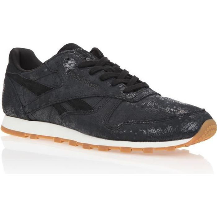 REEBOK Baskets Classic Leather Exotic - Femme - Noir