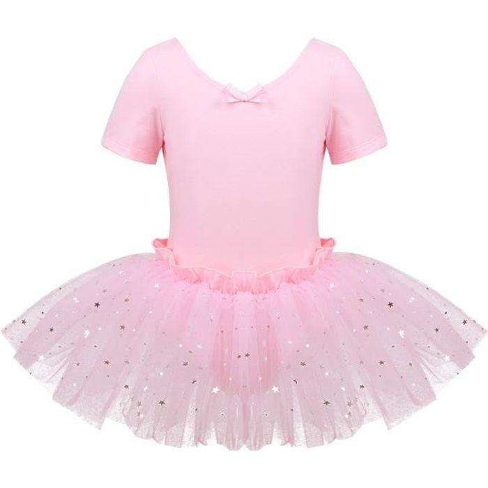 Tutu de Danse Enfant Fille Justaucorps Danse Classique Paillette Costume Spectacle 4-10 Ans Rose
