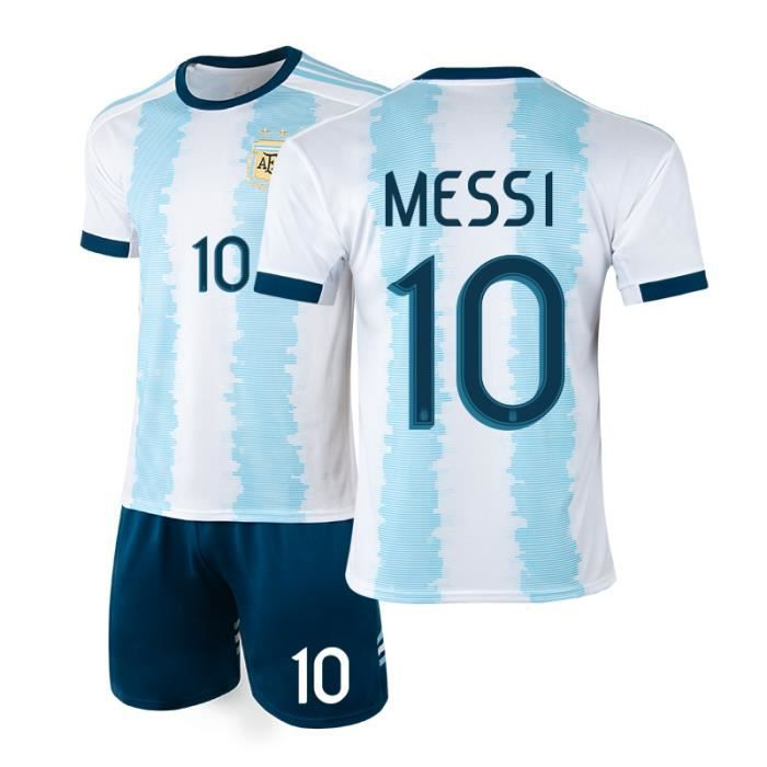 Argentine #10 Lionel Messi Maillot de Foot Football Soccer(Top+Short)Kit Suit 2019 - 2020 Pas Cher pour Homme