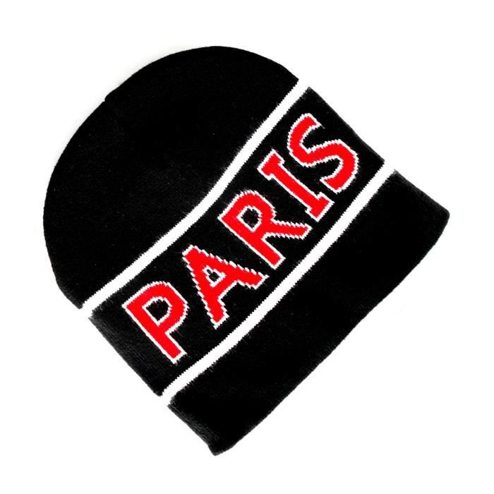 BONNET PARIS - NOIR - HOMME FEMME ENFANT FILLE GARCON No écharpe maillot fanion casquette drapeau ...