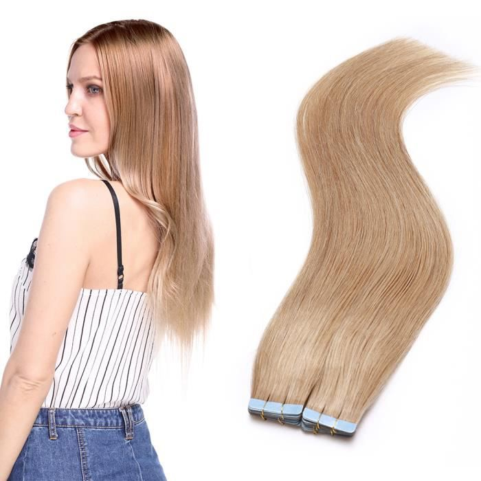 20 PCS 60G Bande Adhesive Extension 100% Cheveux Humains Naturels 16 Pouces[#27 Blond Foncé] Invisible Extension Cheveux Adhesif