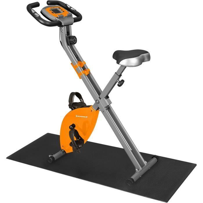SONGMICS Vélo d'appartement pliable X-Bike, 8 Niveaux de Résistance Magnétique, Tapis de Sol, Capacité 100 kg, Orange SXB11OG