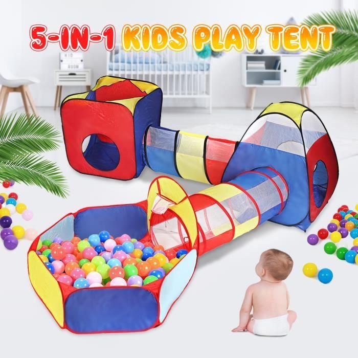 TEMPSA Tente de Jeu d'enfant Tunnel Activite Tente à Balles 5 en 1