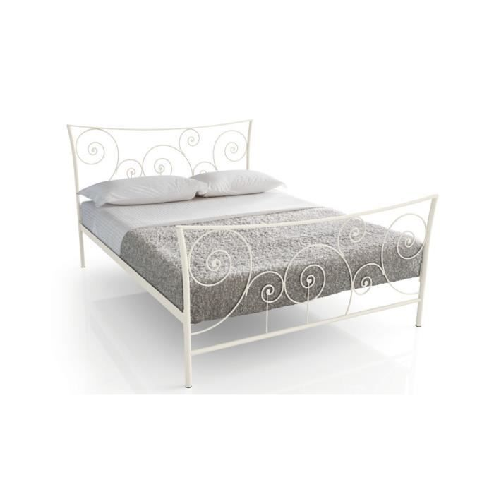 lit m tal damas 90x190 blanc achat vente structure de lit cdiscount. Black Bedroom Furniture Sets. Home Design Ideas
