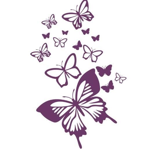 stickers papillons violet achat vente stickers cdiscount. Black Bedroom Furniture Sets. Home Design Ideas