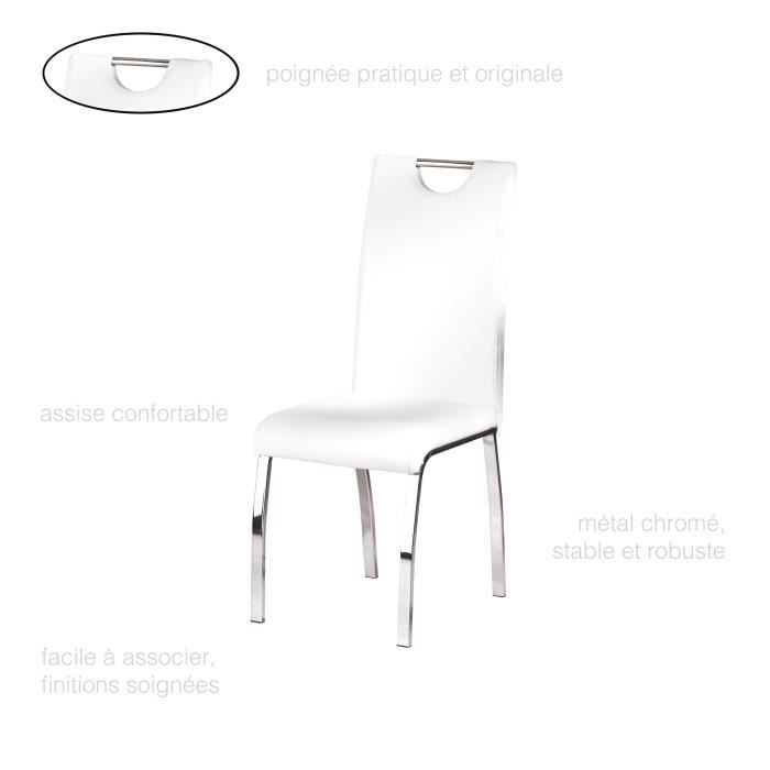 chaise chaise salle manger blanche lot de 2 simili cu - Chaise Contemporaine Design