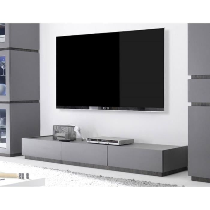 banc tv moderne blanc ou gris laqu balty 3 gris laque mat ou blanc laque mat achat vente. Black Bedroom Furniture Sets. Home Design Ideas