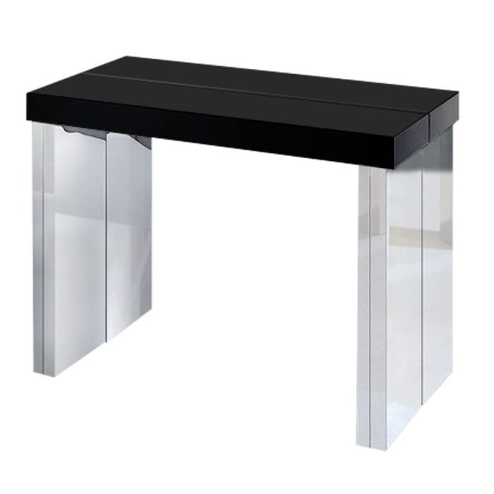 console extensible 3 rallonges noir laqu e achat vente table manger console extensible 3. Black Bedroom Furniture Sets. Home Design Ideas
