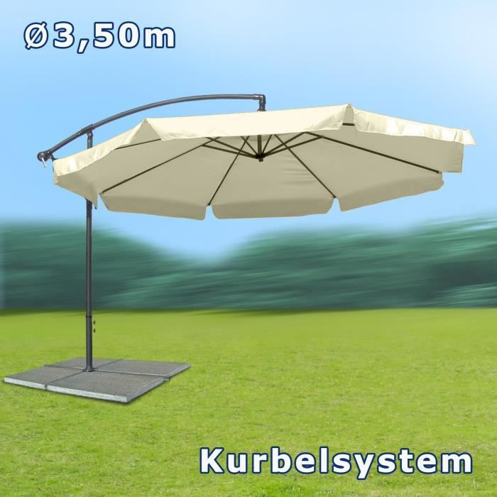parasol excentr diam tre 3 5 m beige mat ri achat. Black Bedroom Furniture Sets. Home Design Ideas