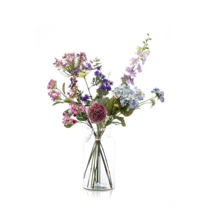 Soie artificielle arrangement de fleurs en jaune et violet en œuf noir en forme de vase