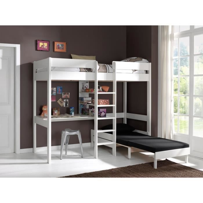 pino lit mezzanine canap extensible blanc achat. Black Bedroom Furniture Sets. Home Design Ideas