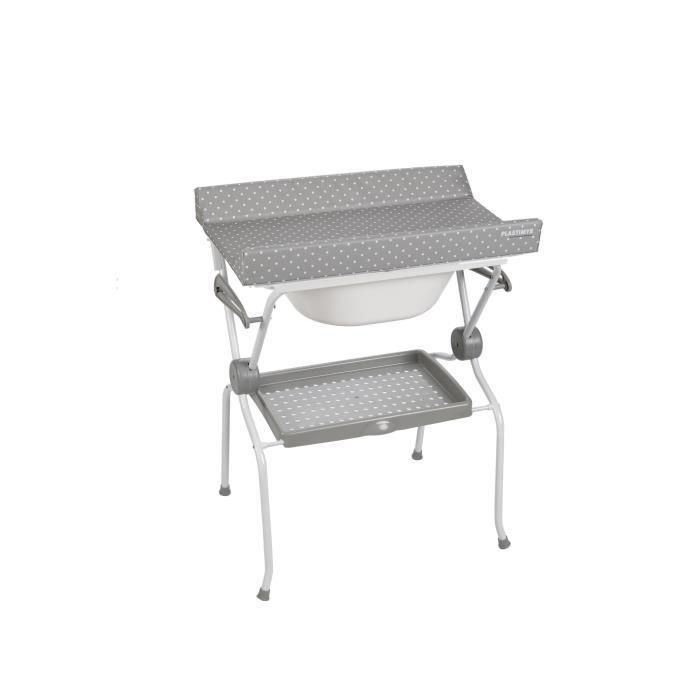 Table A Langer Ada Pois Gris Avec Baignoire Integree Pliable