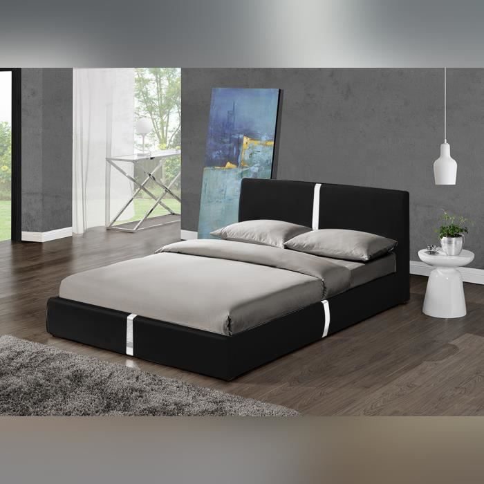 lit design noir ulysse 140 cm mod le moderne et top confort vendu av achat vente structure. Black Bedroom Furniture Sets. Home Design Ideas