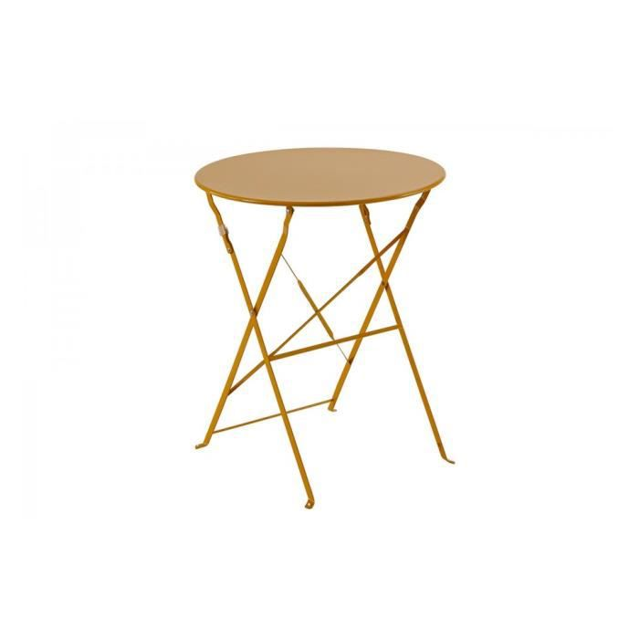 Table ronde 60cm pliante camargue hesperide orange achat for Table a carte pliante