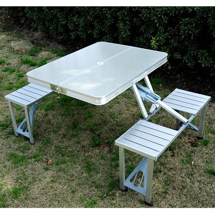 Table De Camping Pique Nique Pliante Aluminium 4 Places En Valise 10