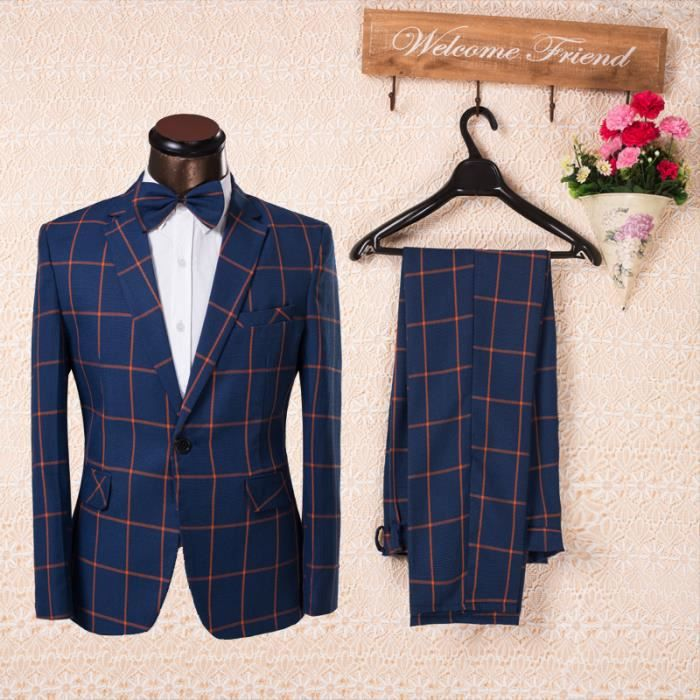 COSTUME - TAILLEUR costume homme Bleu carreau complet Single-fente Co