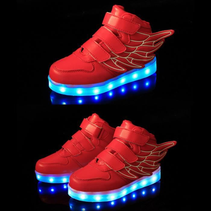 Nouveau Style Enfants Chaussures Luminous Drôle, Wings Décoration Kids LED Flash Chaussures Casual, USB Rechargeable Chaussures Lumi