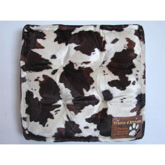 coussin tapissier 40x40x8 cm peau vache achat vente coussin cdiscount. Black Bedroom Furniture Sets. Home Design Ideas