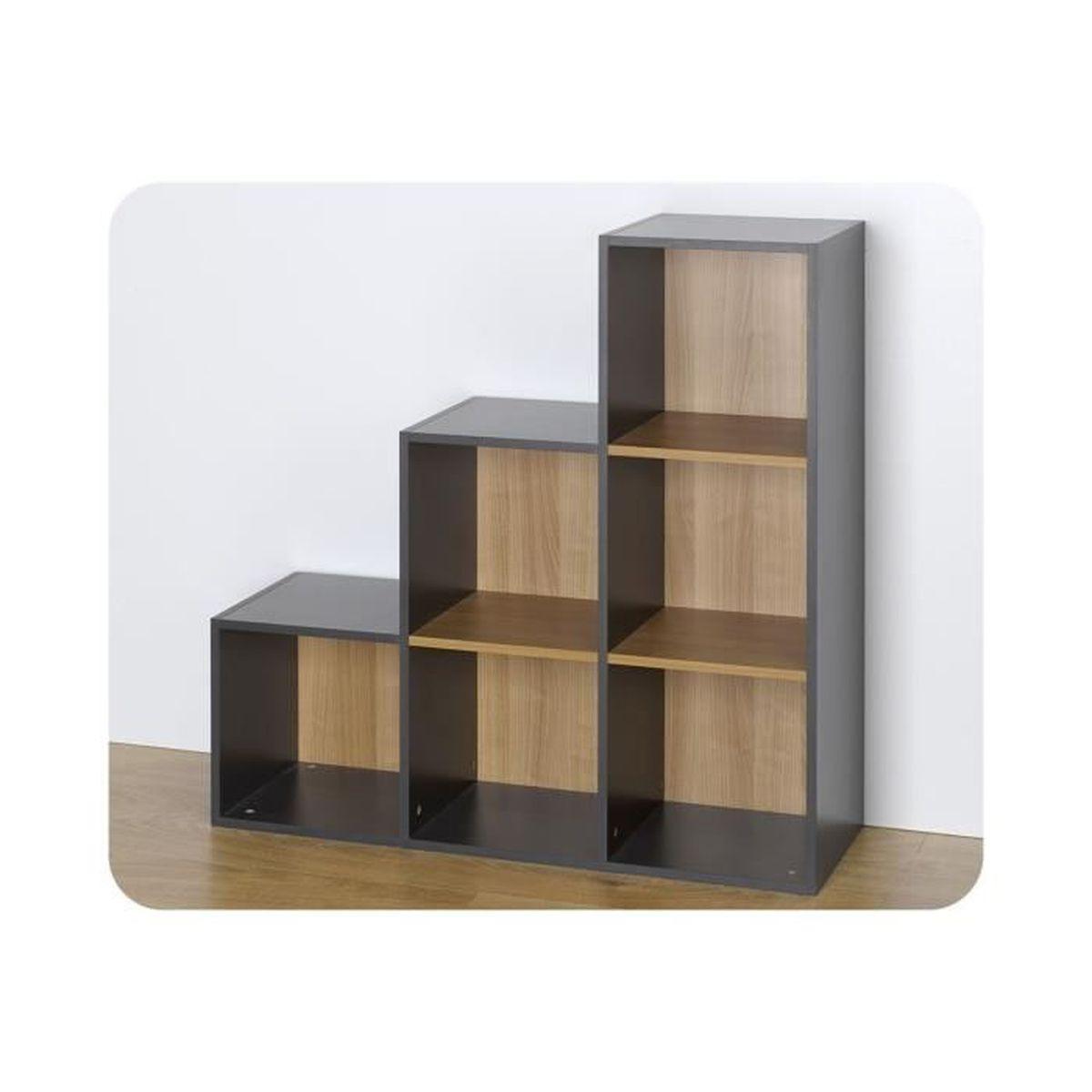 Escalier Modulaire Pas Cher etagères - 6 cases de rangement escalier modulables gris