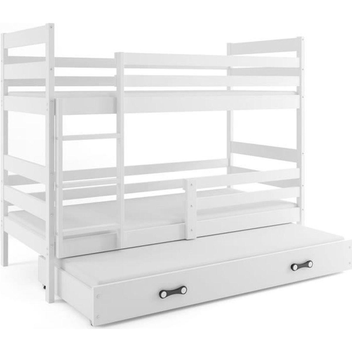 Lit Superposé 3 Étages lit superposé 3 places eryk 160x80 blanc + blanc livré avec sommiers,  tiroir et matelas en mousse de 7cm offerts