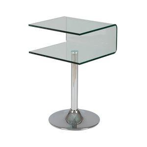TABLE D'APPOINT Guéridon porte revues en verre et acier - GLASS