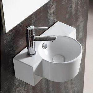 LAVE-MAIN Lave main Asymétrique Gauche - Céramique blanc - 4
