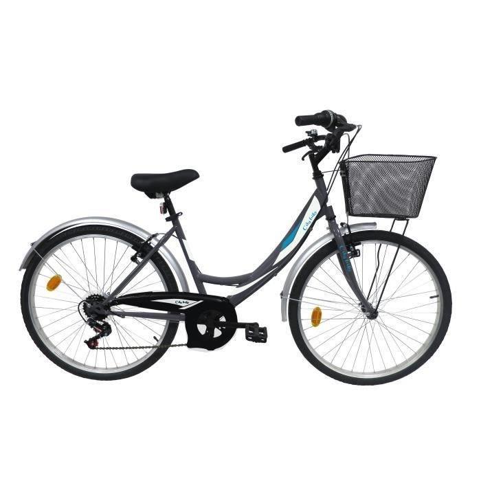 """VÉLO DE VILLE - PLAGE Vélo ville 26"""" Femme VENERE 6 vitesses  avec panie"""