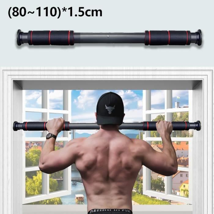 80–110cm Barre de Traction pour Porte Barre de Fitness Fixation Murale Pull Up Bar Cadre de Porte