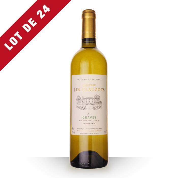 Lot de 24 - Château les Clauzots 2017 AOC Graves - 24x75cl - Vin Blanc