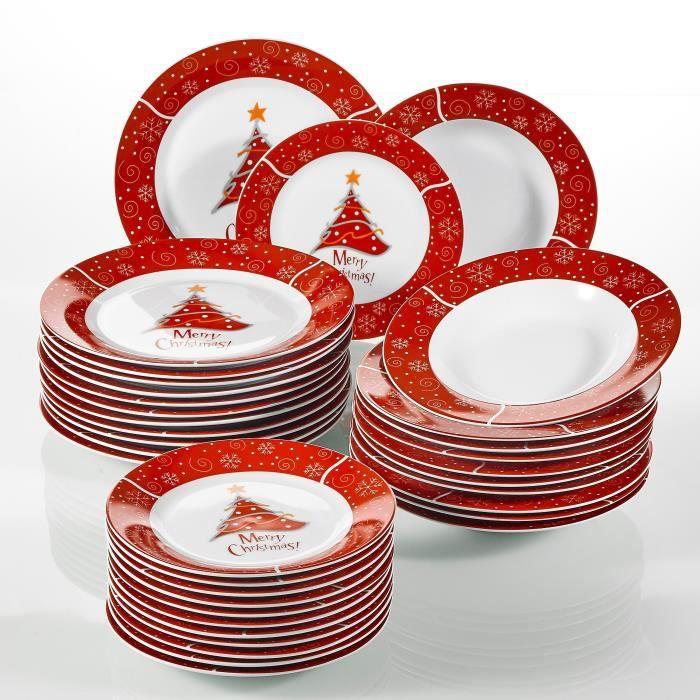 Christmastree, 36 Pièces Plates, en Porcelaine, 12 Assiettes Plates, 12 Assiettes Creuses, 12 Assiettes à Dessert