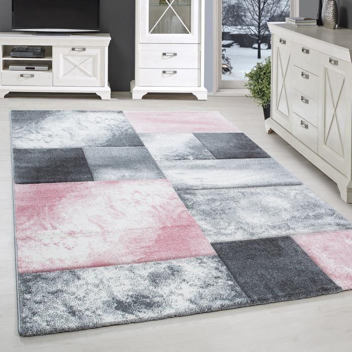Tapis design moderne salon contours coupe Karting modèle noir gris rose [160x230 cm]