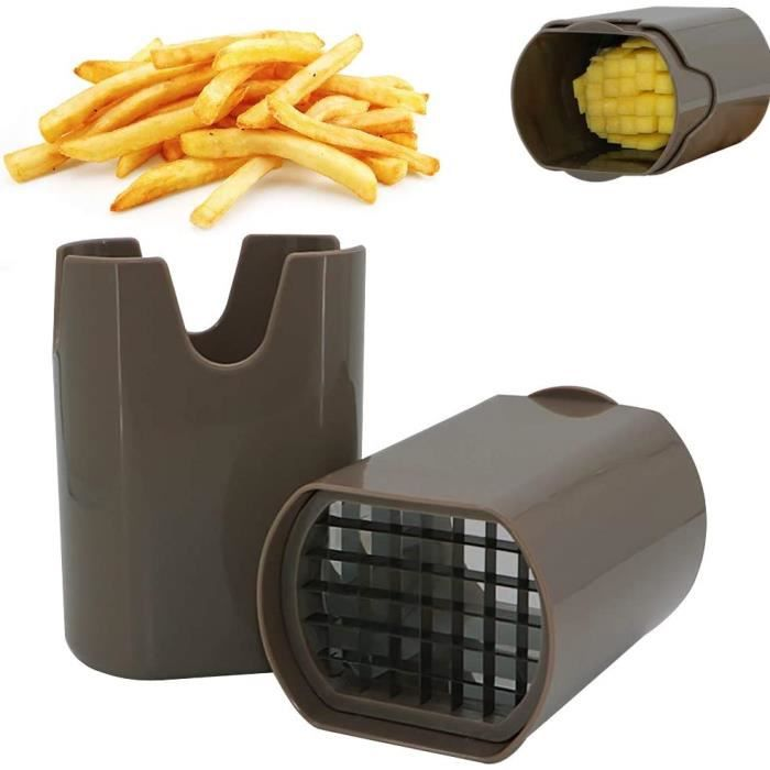 Coupe Frite, Coupe Frites Manuel, Coupe Frites Professionnel, Coupe Pomme de Terre pour Frite, Grille Coupe Frite INOX (Brun)