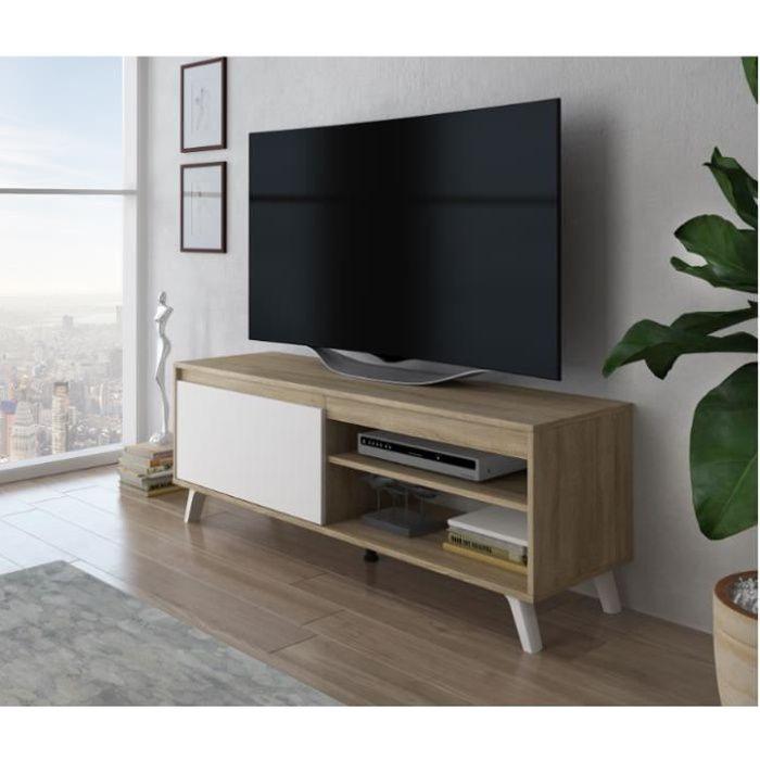 Furnix meuble tv élégant Darsi 140 cm chêne sonoma/ blanc