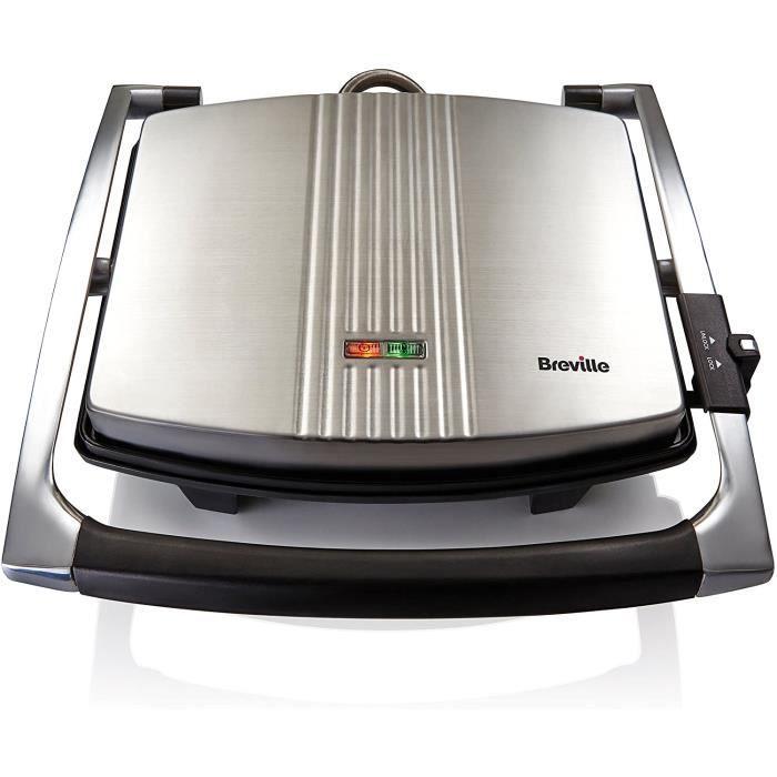 VST026X Appareil à Sandwich /Panini en Acier Inoxydable 2000 W Argenté