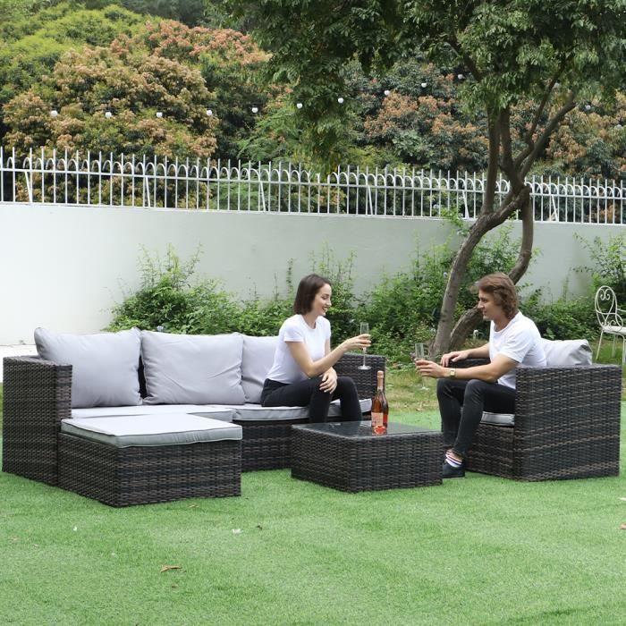 [Yeerun] Salon de jardin 4 places - Ensemble 5 meubles de jardin imitation rotin tressé-avec accoudoirs,coussins de dossier et verre