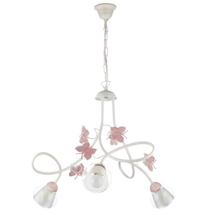 ONLI Lustre 3 lumières chambre en métal blanc avec papillons peints en rose - 4924/3