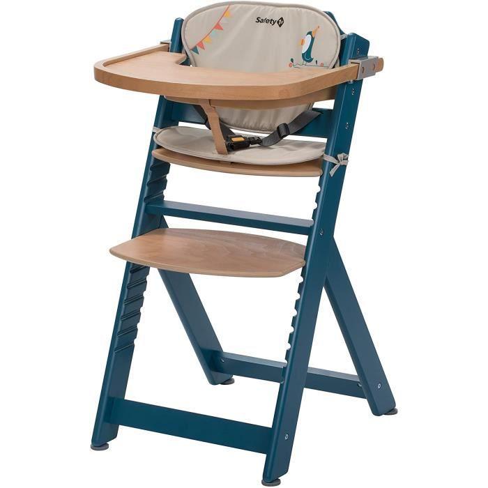 Chaises hautes, sièges et accessoires Safety 1st Chaise Haute pour bébé en Bois et Evolutive Timba avec coussin Petrol B 412983