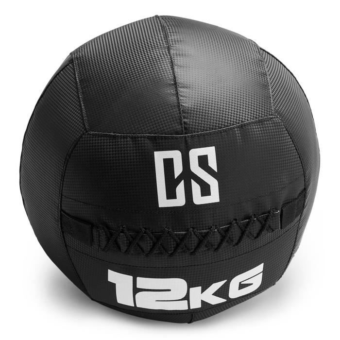 CAPITAL SPORTS Bravor Medecine ball Wallball PVC Double couture 12kg - noir