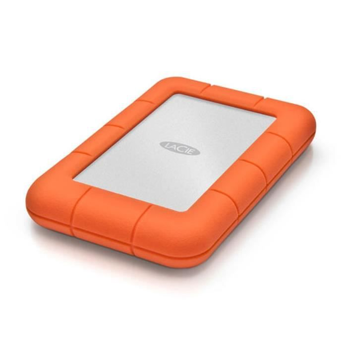 LACIE Rugged Mini - 500Go - 2.5'' - USB 3.0, Thunderbolt, SSD, Portable Orange - Disque Dur Externe Reconditionné