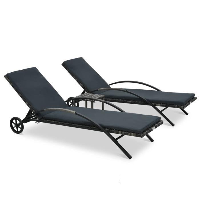 HEG Chaises longues anthracite avec table résine tressée + cadre en acier laqué 200 x 65 x 39 cm gris foncé -9375305154491
