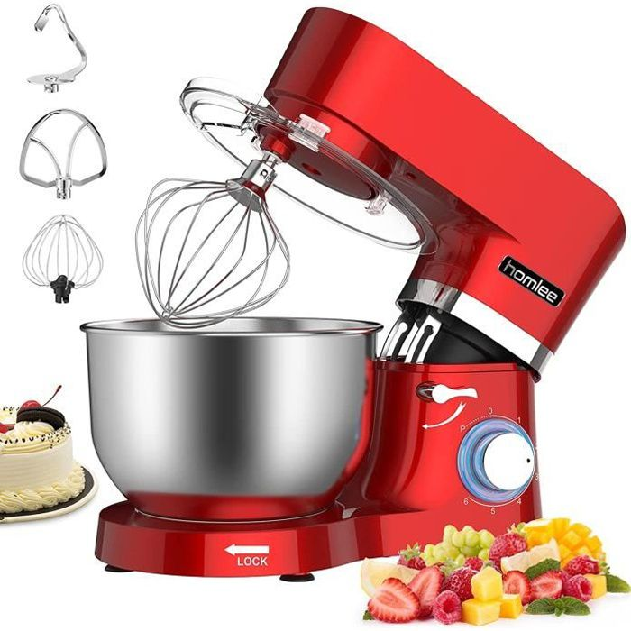 Homlee Robot patissier, SM1503 Petrin robot ménager - Multifonctions&Silencieux - 1500W - Bol 5.5L - Rouge