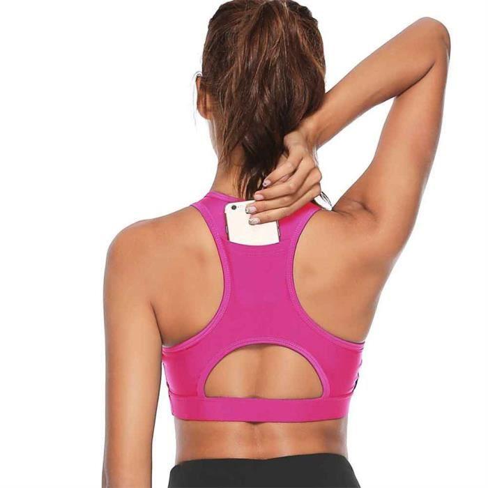 Femmes Solid Sport Bra Back Pocket Running Yoga Bras Rembourré High I mpact Workout YXQ90906682PKXS_ion