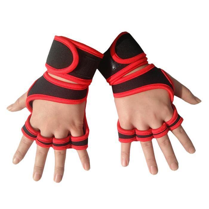 1 paire de gants de sport professionnel Gym Fitness Haltérophilie Gants demi-doigts pour hommes Femmes Adultes (Rouge, Taille)