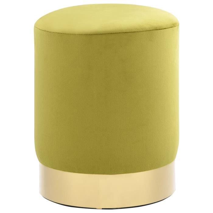 7545Modèle® Tabouret Vert moutarde et doré Velours