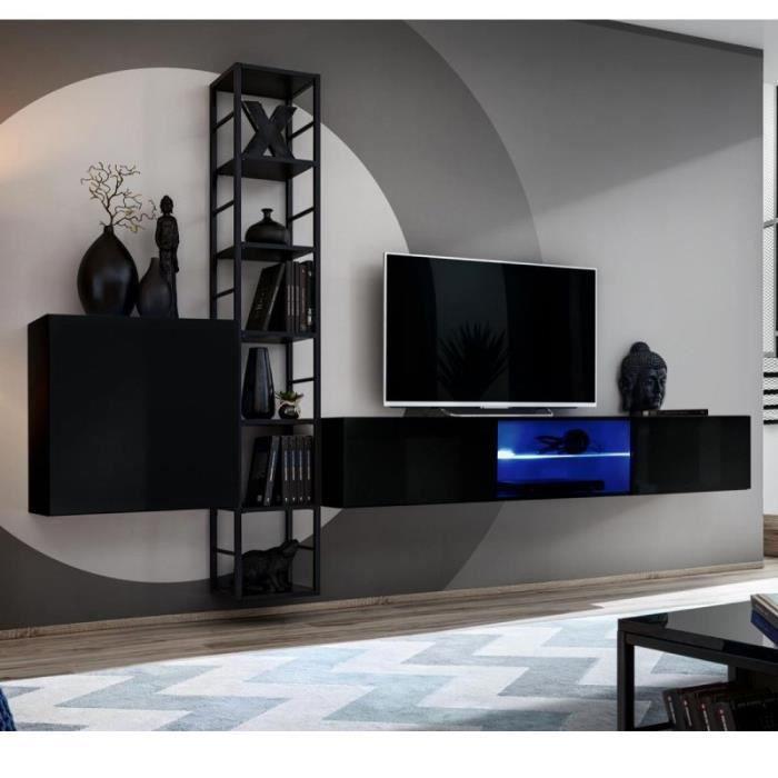 Ensemble Meuble Tv Design -switch Vi- 270cm Noir - Paris Prix