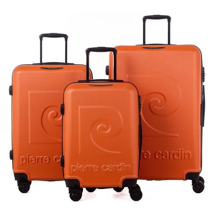 PIERRE CARDIN Set de 3 valises : 1 valise cabine 55 cm et 2 valises grandes tailles 65 et 75 cm - Jaune